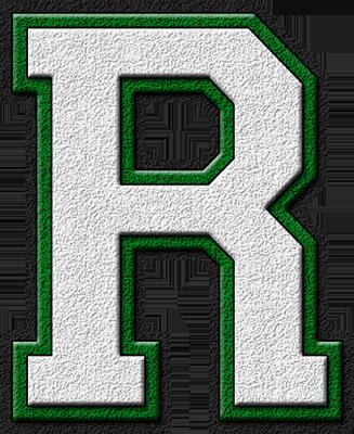 presentation alphabets white green varsity letter r