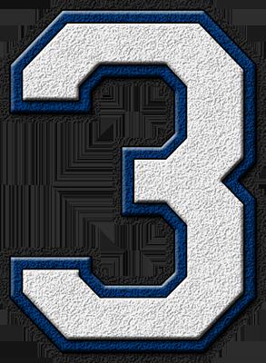 Presentation Alphabets: White & Royal Blue Varsity Numeral 3