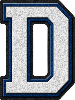 Presentation Alphabets: White & Royal Blue Varsity Letter D