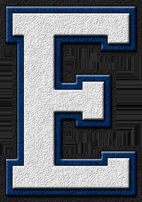 Presentation Alphabet Set White Royal Blue Varsity Letter E