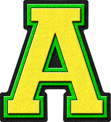 Presentation Alphabets Yellow & Kelly Green Varsity Letter A