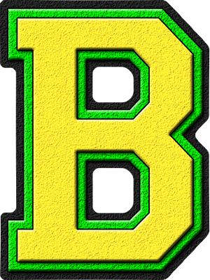 Presentation Alphabets: Yellow & Kelly Green Varsity Letter B