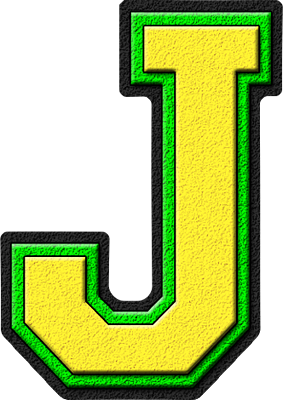 Presentation Alphabets: Yellow & Kelly Green Varsity Letter J