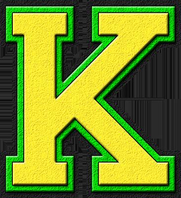 K Alphabet Letter Presentation Alphabets: Yellow & Kelly Green Varsity Letter K