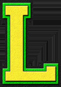L Alphabet Letter Presentation Alphabets: Yellow & Kelly Green Varsity Letter L