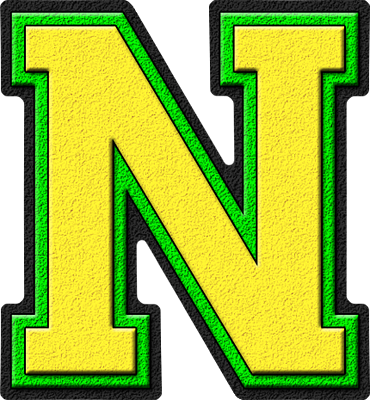 Presentation Alphabets Yellow Kelly Green Varsity Letter N
