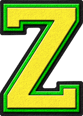 Letter Z Pictures.Presentation Alphabets Yellow Kelly Green Varsity Letter Z