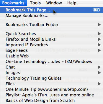how to bookmark pages on mac
