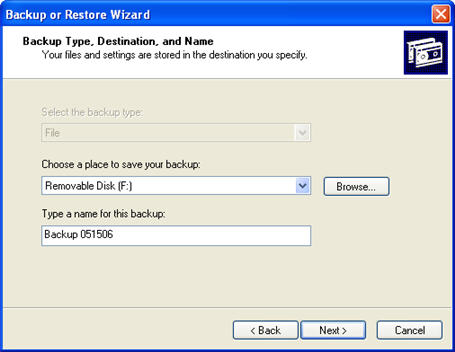 Unfortunately the windows xp backup tool cannot backup files using a