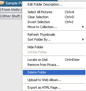 What are the main parts of the Picasa interface? » Images