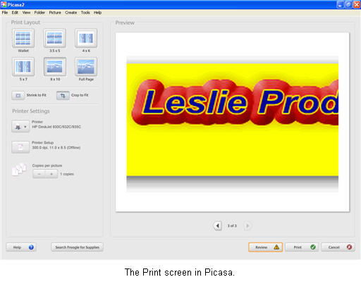How do I print my pictures using Picasa? » Images » Windows