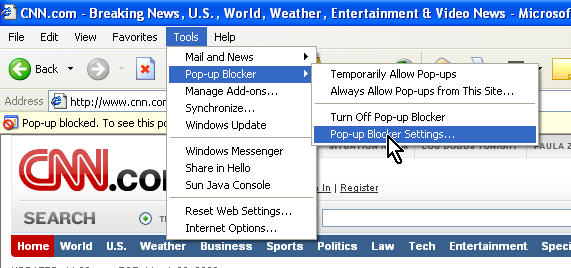 Popup blocker settings for IE