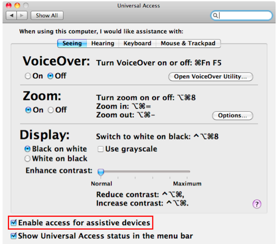 Universal Access window with Enable access for assistive devices highlighted.