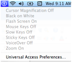 Universal Access menu in Menu Bar