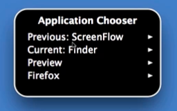 VoiceOver application switcher menu.