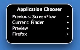 VoiceOver application switcher menu.