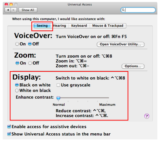 Seeing pane of Universal Access window selected, with Display section highlighted.