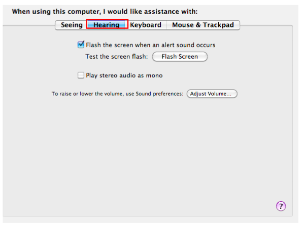 Universal Access window with Hearing tab selected.