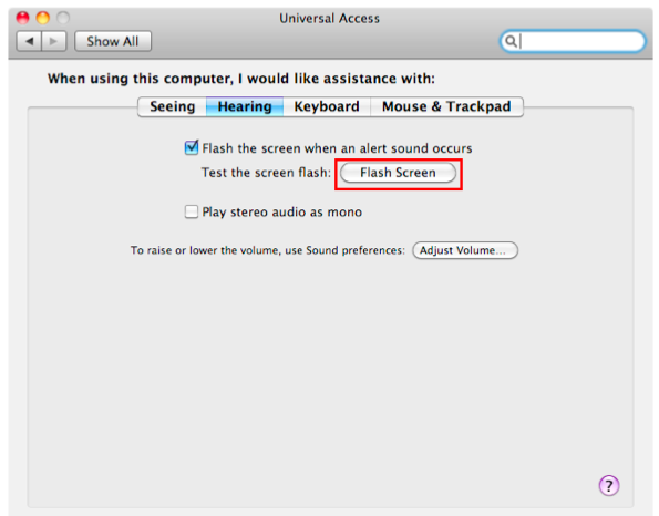 Hearing tab of Universal Access window with Flash Screen button highlighted.