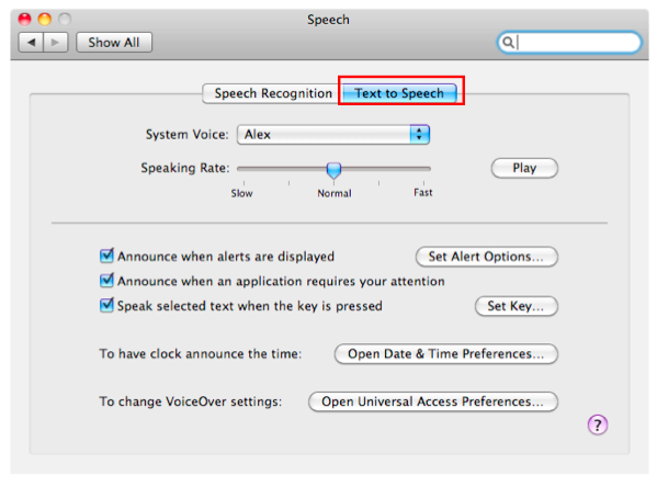 Speech window with Text to Speech tab selected.