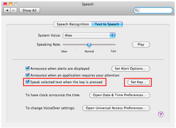 Speak selected items when key is pressed option and Set Key button highlighted in Text to Speech pane.