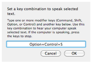Set key window of Text to Speech feature.
