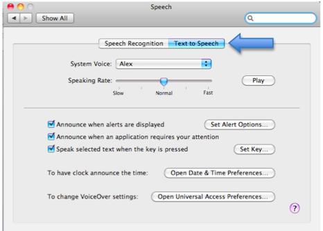 Speech window with Text to Speech pane selected.