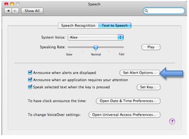 Set alert options button in Text to Speech pane.