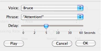 Alert options window.