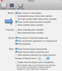 QuickTime General Preferences window with Show closed captioning when available highlighted.