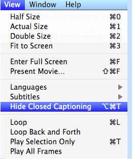 QuickTime View menu with Hide Closed Captioning selected