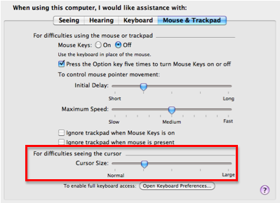 Mouse and Trackpad pane with cursor size slider highlighted.