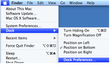 Apple menu with Dock, Dock Preferences selected.