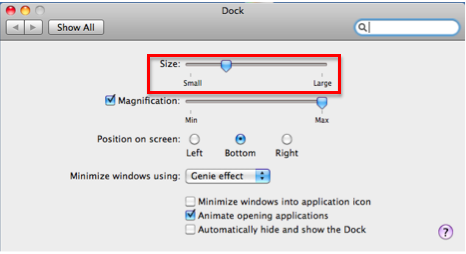 Dock preferences window.