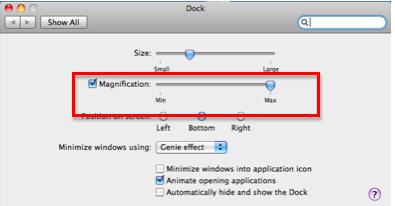 Dock magnification slider in Dock Preferences window.