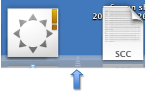 Slider between application and folder icons can be used to change Dock size.