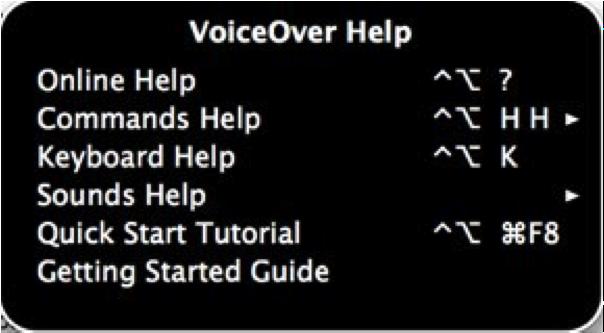 VoiceOver Help Menu.
