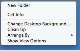 Contextual menu for Desktop includes Show view options.