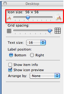 Icon size slider in Desktop view options window.