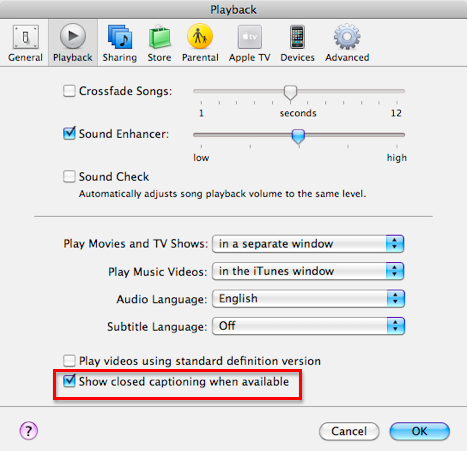 iTunes Playback Preferences pane with Show closed captioning option selected and highlighted.