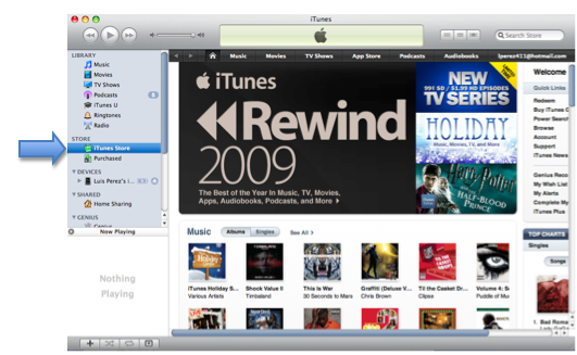 iTunes window with iTunes Store option highlighted.