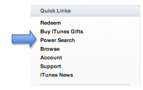 Quick Links with Power Search option highlighted.