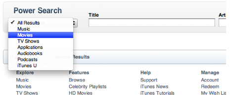 Movies option selected from Results menu in Power Search window.