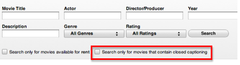 Power Search window with option to search for only movies that are closed captioned highlighted.