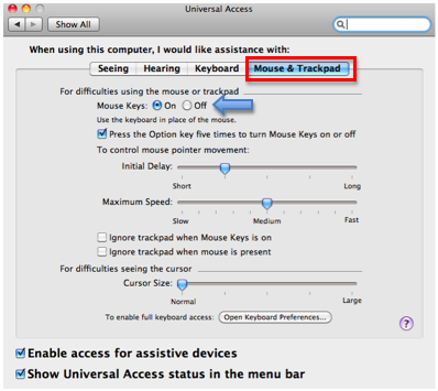 Mouse Keys in Mac OS X » Motor Skills » 4All » Tech Ease
