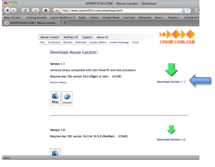 Mouse Locator download page screenshot.
