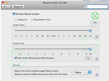 Mouse Locator preferences pane.