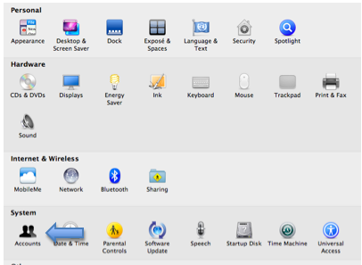 System Preferences window with Accounts highlighted