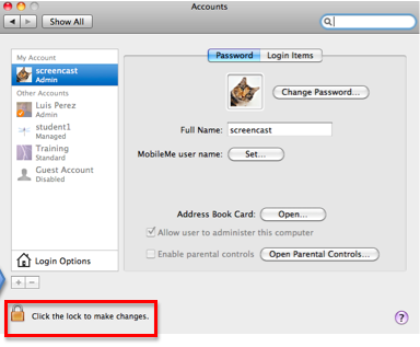 Accounts window with Lock icon for making changes highlighted.