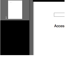 Page thumbnails displayed on left side of Pages window in Full Screen mode.